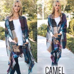 Camel Plaid Poncho Wrap - 1 LEFT!